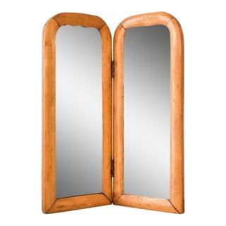 Vintage Antique Wood Bi-fold Beveled Table Top Mirror