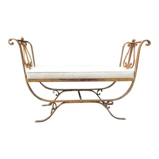 Neoclassical Style Gold Gilt Iron Bench