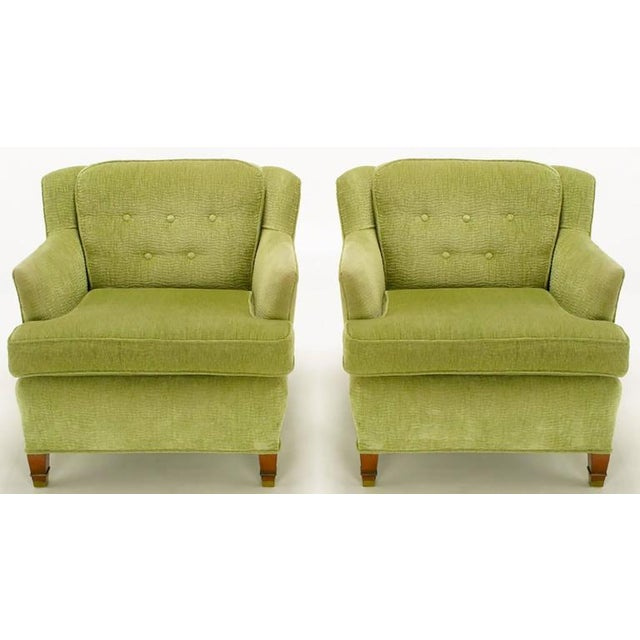 Pair of Pistachio Green Chenille Button-Tufted Low Barrel Back Wing Chairs - Image 2 of 9