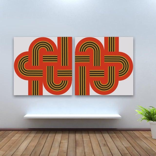 "Image of ""Weave"" Original 1970s Red Silk-Screens - A Pair"