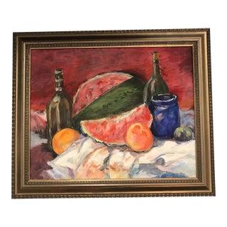Watermelon & Wine Still Life Painting