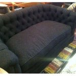 Image of Settee Sofa in Linen Charcoal Blend