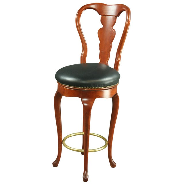 Queen Anne New Swivel Bar Stools - Pair - Image 2 of 6