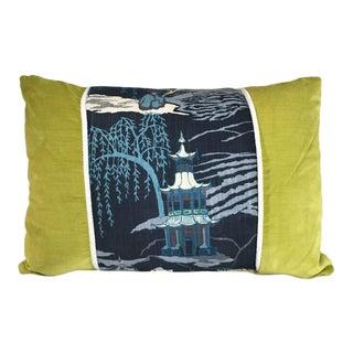 Kim Salmela Pagoda Indigo Patchwork Pillow