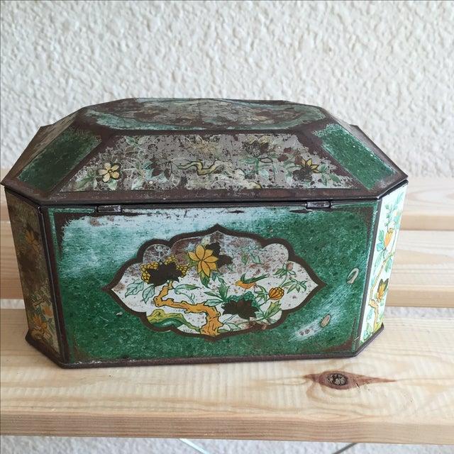 Chinoiserie Flowers English Metal Box - Image 4 of 7