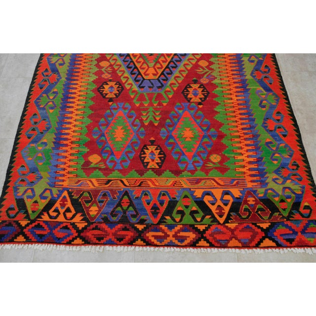 Turkish Kilim Hand Woven Wool Area Rug - 5′8″ X 9′4″ - Image 7 of 9