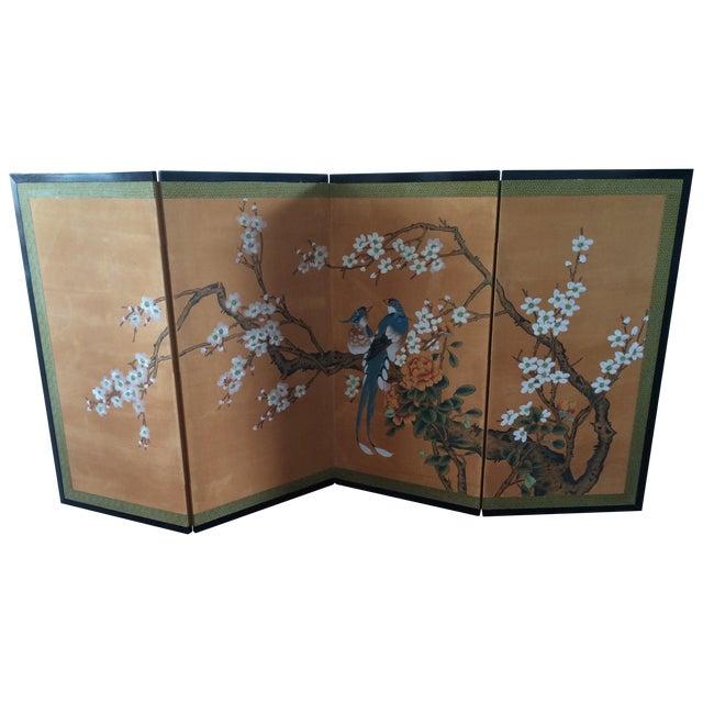 Vintage Four Panel Silk Screen Fancy Birds - Image 1 of 7