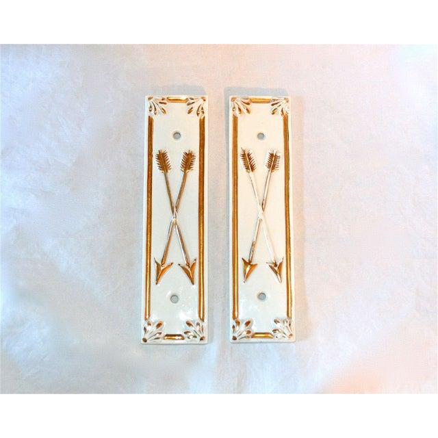 Image of Limoges Golden Arrow Push Plates- A Pair