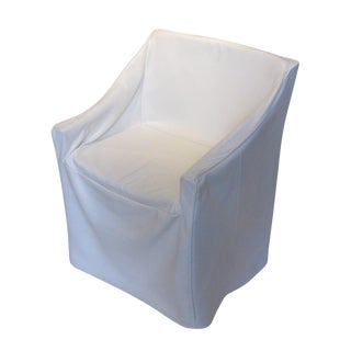 White Leather Slip Cover Chair