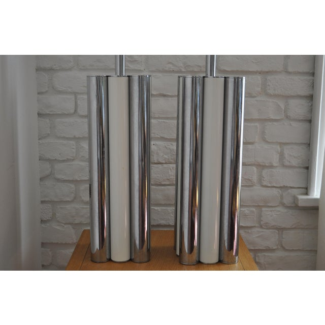 Chrome & White Table Lamps - A Pair - Image 4 of 5