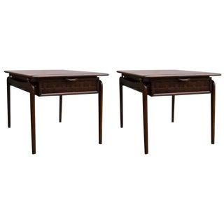 Lane Perception Walnut End Tables - a Pair