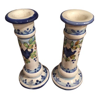Colorful Pottery Candlesticks - A Pair