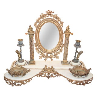 French Bronze & Marble Figural Vanity