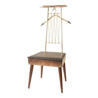 Mid Century Modern Brown Vinyl Butler Chair
