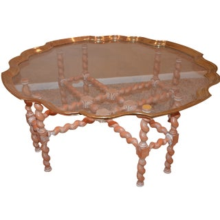 Brass & Glass Scalloped Tray Coffee Table