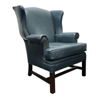 Leathercraft Slate Blue Leather Wing Back Chair