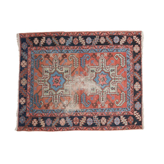 "Image of Distressed Antique Karaja Square Rug - 3'6"" X 4'3"""