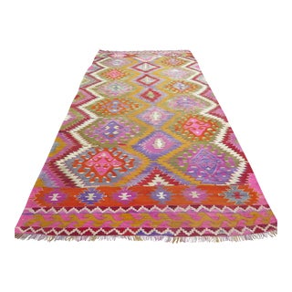 Vintage Turkish Kilim Rug - 5′4″ × 10′10″