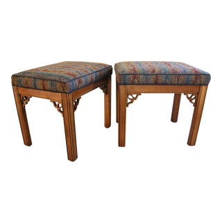 1950s Hollywood Chippendale-Style Upholstered Benches - a Pair