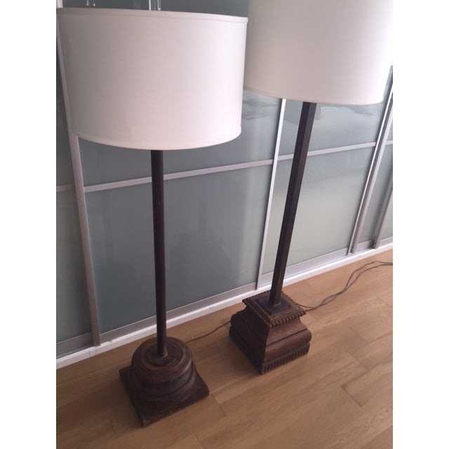 Antique Asian Wood & Metal Floor Lamps - A Pair - Image 5 of 7