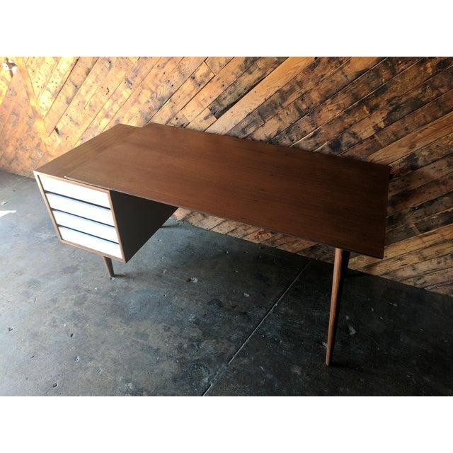 Custom Large Mid Century Style Walnut Desk - Image 4 of 11