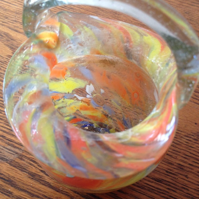 Image of Orange And Yellow Art Glass Basket