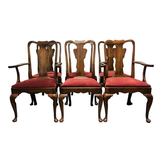 Statton oxford antique cherry queen anne dining chairs - Queen anne bedroom furniture cherry ...