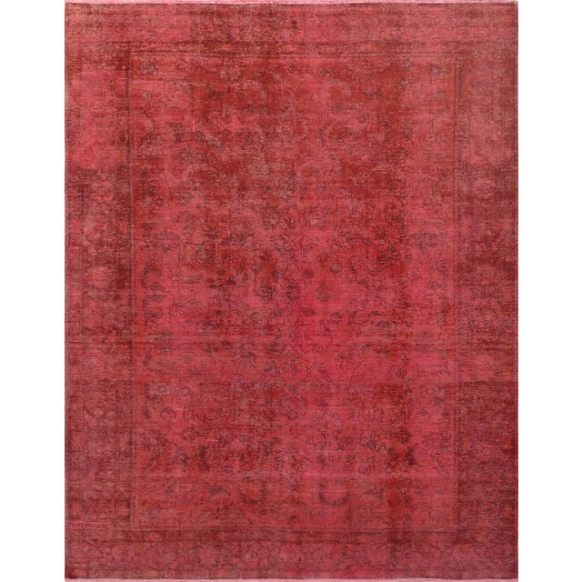 "Pink Vintage Overdyed Rug - 8' 1"" X 10' 4"" - Image 1 of 3"