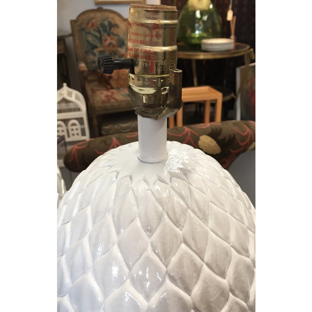 White Palm Beach Pineapple Table Lamps - A Pair - Image 4 of 5