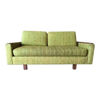 Mid Century Solid Walnut Arms Loveseat Sofa