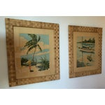 Image of Signed Tropical Prints in Woven Frames - A Pair
