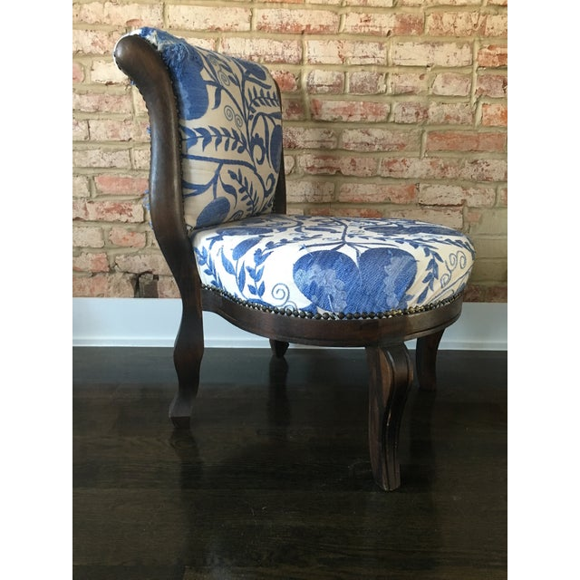 Vintage Slipper Chair With Suzani Upholstery