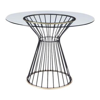 "Modernist Metal & Glass Round 42"" Table"