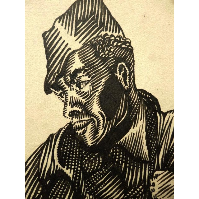 Image of Vintage African American Folk Art Drawing