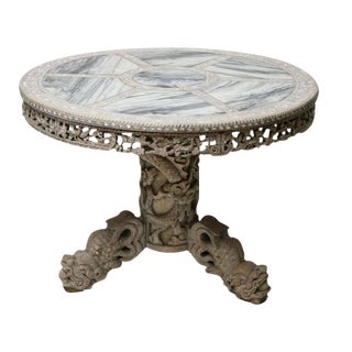 Finely Carved Chinese Center Table with Mother-of-Pearl Inlays and Marble Top