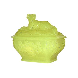 Antique 1900 Yellow Vaseline Glass Lidded Dog Dish