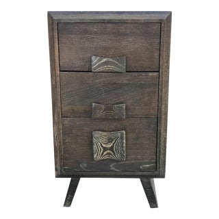 Paul Frankl Style Cerused Brown 3 Drawer Nightstand