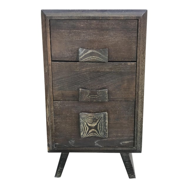 Paul Frankl Style Cerused Brown 3 Drawer Nightstand - Image 1 of 9