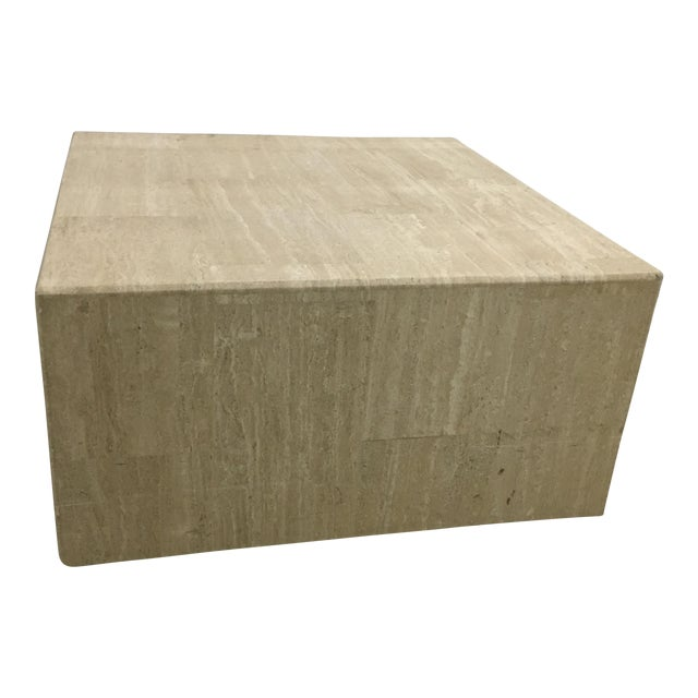 Rolling Travertine Cube Side Table - Image 1 of 8