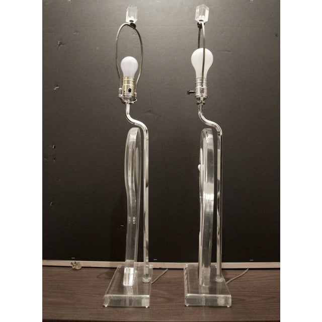 Image of Mid-Century Modern Lucite Table Lamps - A Pair