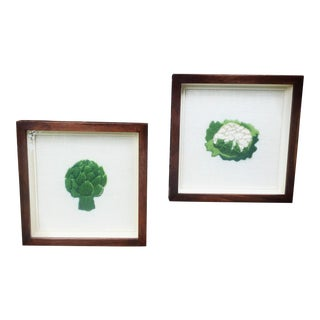 Framed Boho Chic Crewel Embroidered Artwork of Veggies - A Pair