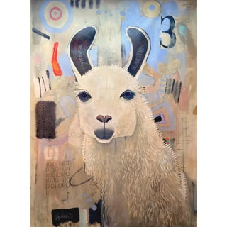 Large canvas oil painting, llama on watch
