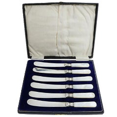 English Mother-Of-Pearl Handled Butter Knives - Set of 6