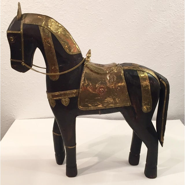 Asian Carved Wood & Brass Trojan Horse Set - Image 4 of 10