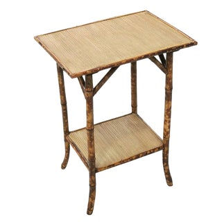 Tiger Bamboo Pedestal Side Table with Bottom Shelf