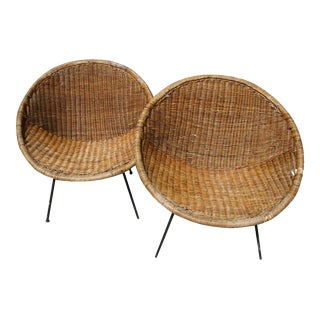 Vintage Mid-Century Bamboo Rattan Wrought Iron Hoop Chairs - Pair