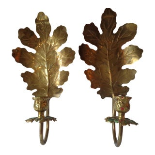 Brass Oak Leaf Candle Sconces - A Pair