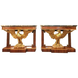 Regency Style Brass Inlaid Rosewood Parcel-Gilt and Marble Consoles - A Pair