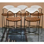 Image of Vintage Arthur Umanoff Wrought Iron Barstools - Set of 5