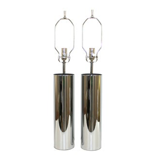 Mid-Century Kovacs Chrome Cylinder Lamps - Pair